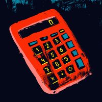 Illustration of red calculator against black background