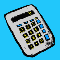 Illustration of calculator against blue background