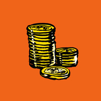 Illustration of stacked coins on orange background