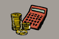 Illustration of calculator and coins against gray background