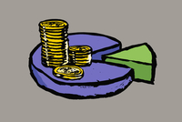 Illustration of stacked coins on pie chart against gray background