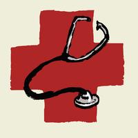 Illustrative image of stethoscope against international red cross