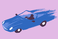 Illustrative image of person driving blue sports car against purple background