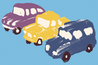 Illustration of cars parked in a row against blue background