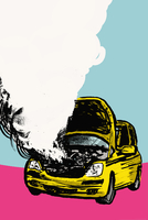 Illustration of smoke coming out from car engine against blue background