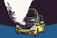 Illustration of smoke coming out from car engine against black background