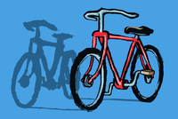 Illustrative image of bicycle parked against blue background