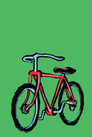 Illustrative image of bicycle parked against green background