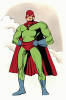 Illustrative image of superhero with hands on hip standing against sky