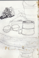 Sketch of eyeglasses with pine cone and ashtray on table