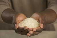 Midsection of man holding rice in cupped hands