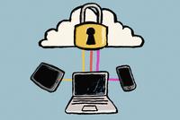 Illustration of cloud computing against blue background