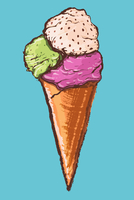 Illustration of ice cream against blue background
