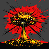 Illustrative image of nuclear explosion against gray background
