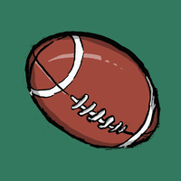Illustration of rugby ball against green background