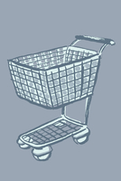 Illustration of shopping cart against gray background