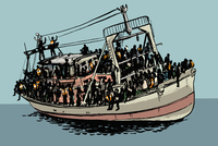 Illustration of crowd travelling in ship on sea