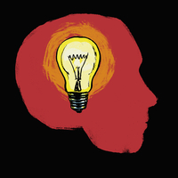 Illustration of illuminated light bulb in human head against black background