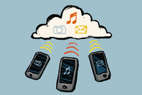 Illustration of smart phones and cloud with multimedia symbols against blue background 11016031859| 写真素材・ストックフォト・画像・イラスト素材|アマナイメージズ