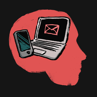 Illustration of laptop and smart phone in human head against black background