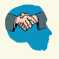 Illustration of person planning partnership against white background