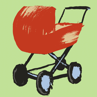 Illustration of baby carriage against green background