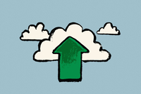 Illustration of clouds and green arrow symbol against blue background