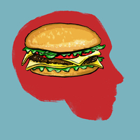 Illustration of burger in human head against blue background