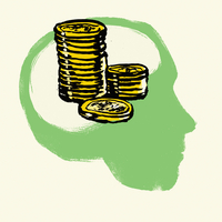 Illustration of stacked coins in human head against white background