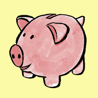 Illustration of piggy bank against yellow background