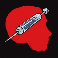 Illustration of injection in human head against black background