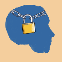 Illustration of padlock with chains human head against beige background
