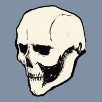 Illustration of human skull against purple background