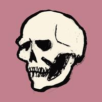 Illustration of human skull against pink background