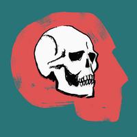 Illustration of skull in human head against green background