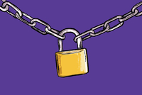 Illustration of padlock attached to chains against purple background