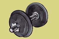 Illustration of dumbbell against green background