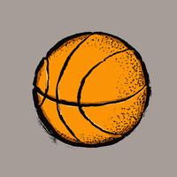 Illustration of basketball against gray background