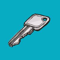 Illustration of key against blue background