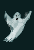 Illustration of ghost against black background