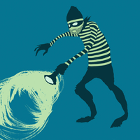 Illustration of thief against blue background