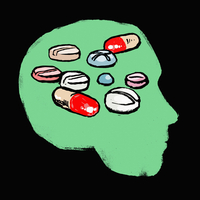 Illustration of medicines in human head against black background