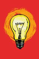 Illustration of illuminated light bulb against red background