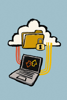 Illustration of laptop connected to cloud with protected folder against blue background 11016031910| 写真素材・ストックフォト・画像・イラスト素材|アマナイメージズ