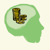 Illustration of stacked coins in human brain against white background