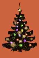 Illustration of Christmas tree against orange background