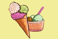 Illustration of various ice creams against yellow background