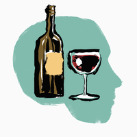 Illustration of red wine bottle and glass in human head against white background
