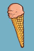 Illustration of ice cream cone against blue background