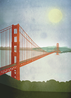 Illustration of Golden Gate Bridge over San Francisco Bay